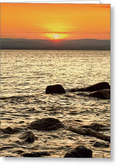 Sunset On The Beach Greeting Card by Alexander Mendoza