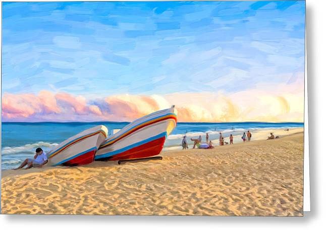 Sunset On The Beach At Playa Del Carmen Greeting Card by Mark E Tisdale