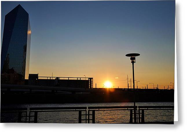South Philadelphia Greeting Cards - Sunset on the Cira Building Greeting Card by Andrew Dinh