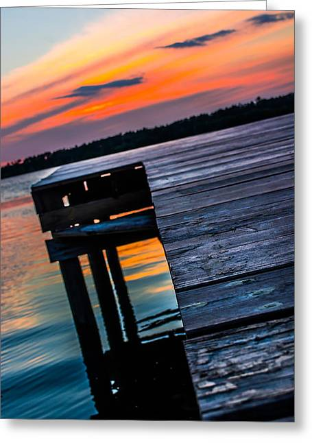 Wooden Dock Greeting Cards - Sunset on the Dock Greeting Card by Shelby  Young
