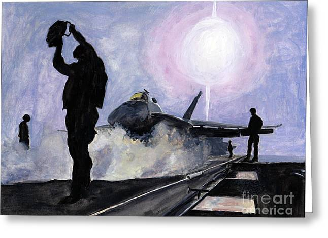 F-18 Paintings Greeting Cards - Sunset on the Flight Deck Greeting Card by Sarah Howland-Ludwig