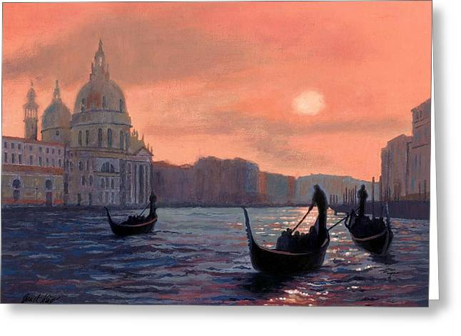 Sunset On The Grand Canal In Venice Greeting Card by Janet King
