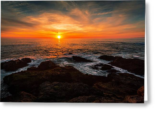 Storm Clouds Pyrography Greeting Cards - Sunset on the Horizon Greeting Card by Rick Strobaugh