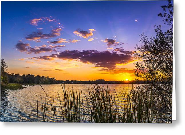 Sunset On The Lake Greeting Card by Marvin Spates