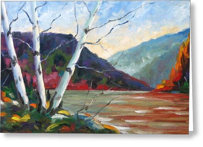 Sunset On The Lake Greeting Card by Richard T Pranke