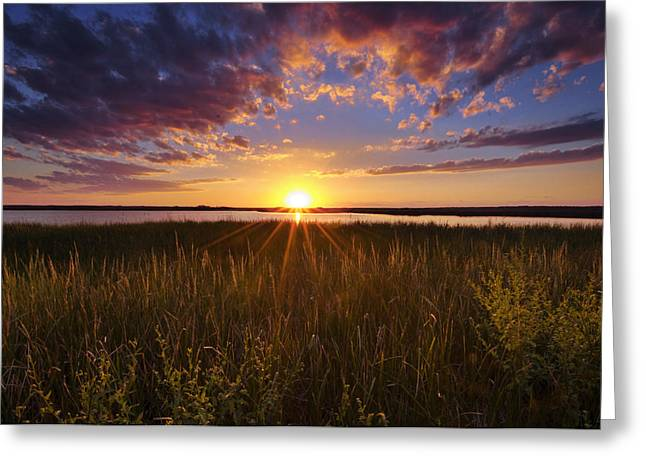 Wildlife Refuge. Greeting Cards - Sunset on the Marsh Greeting Card by Joseph Rossbach