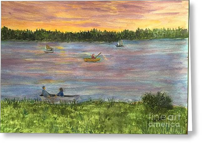 Amesbury Greeting Cards - Sunset on the Merrimac River Greeting Card by Anne Sands