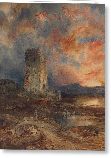 River View Greeting Cards - Sunset on the Moor Greeting Card by Thomas Moran