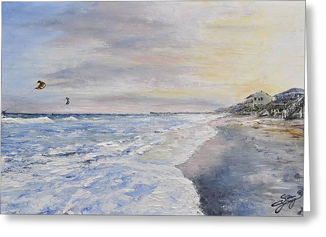 Kiteboarding Paintings Greeting Cards - Sunset on the North Carolina Coast Greeting Card by Spencer Yancey