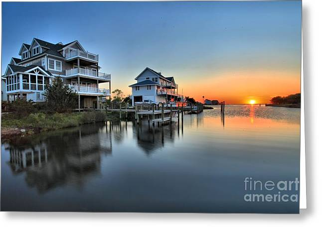 Sunrise On Beach Greeting Cards - Sunset On The OBX Sound Greeting Card by Adam Jewell