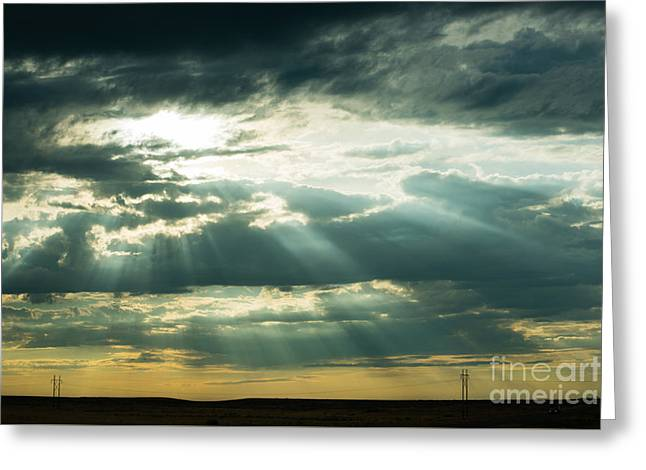 Storm Prints Greeting Cards - Sunset on the Plains Greeting Card by MaryJane Armstrong