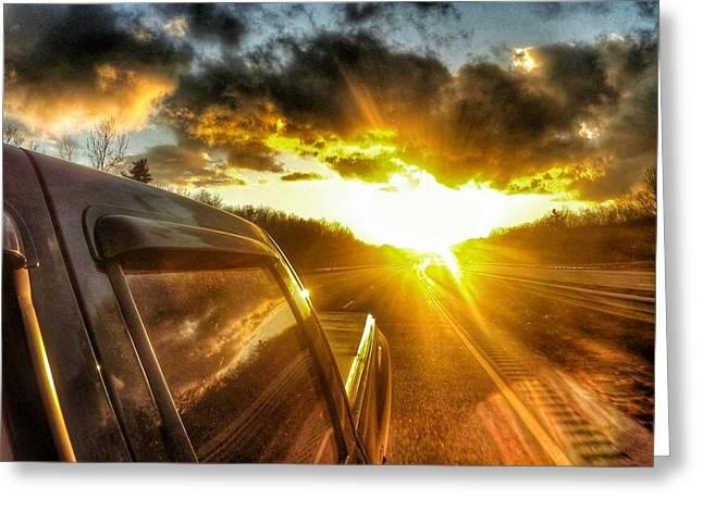 Sunset On The Road Greeting Card by Erik Kaplan