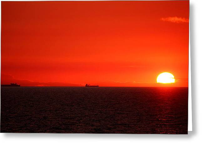 Summer Storm Greeting Cards - Sunset On The Sea Greeting Card by Heike Hultsch
