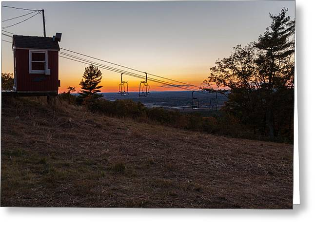 Boston Ma Greeting Cards - Sunset on the Ski Lift Greeting Card by Brian MacLean