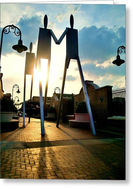Sunset On The Strollers On South Street Bridge Greeting Card by Andrew Dinh