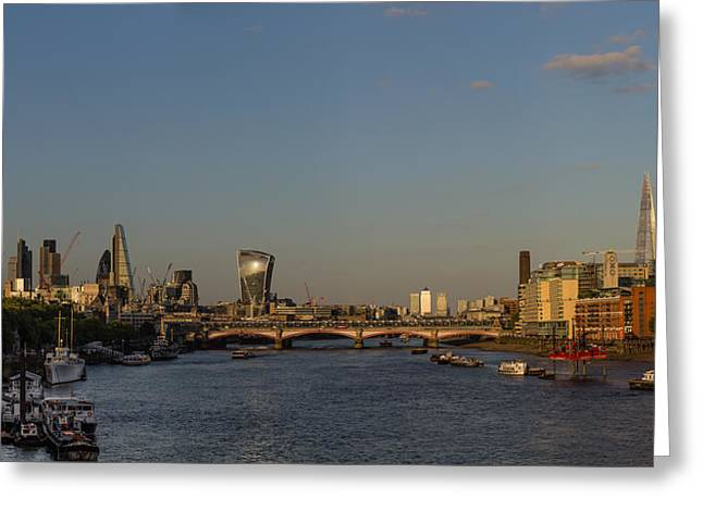 Famous Bridge Greeting Cards - Sunset on the Thames Greeting Card by Capt Gerry Hare
