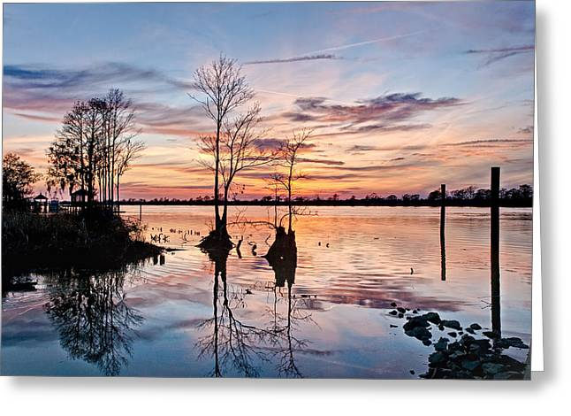 Mike Covington Greeting Cards - Sunset on the Waccamaw Greeting Card by Mike Covington