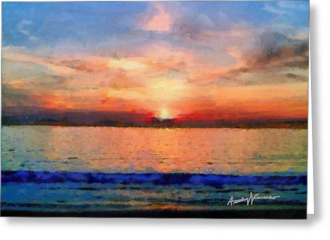 Sunset Seascape Mixed Media Greeting Cards - Sunset on the Water Greeting Card by Anthony Caruso