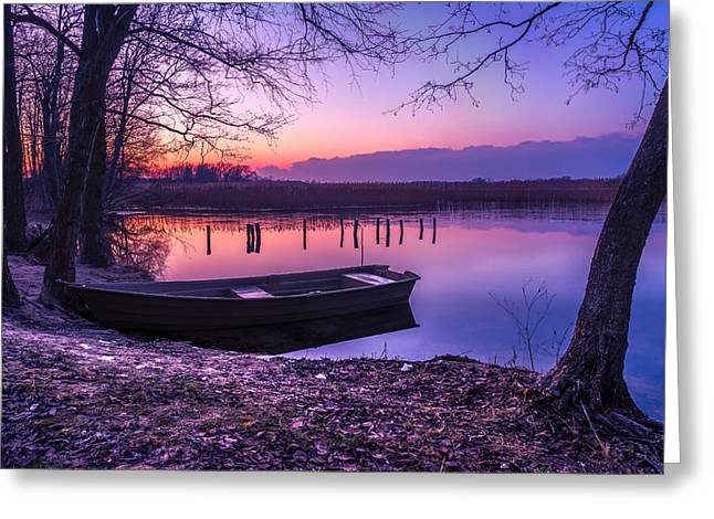 Water Vessels Greeting Cards - Sunset on the White Lake Greeting Card by Dmytro Korol