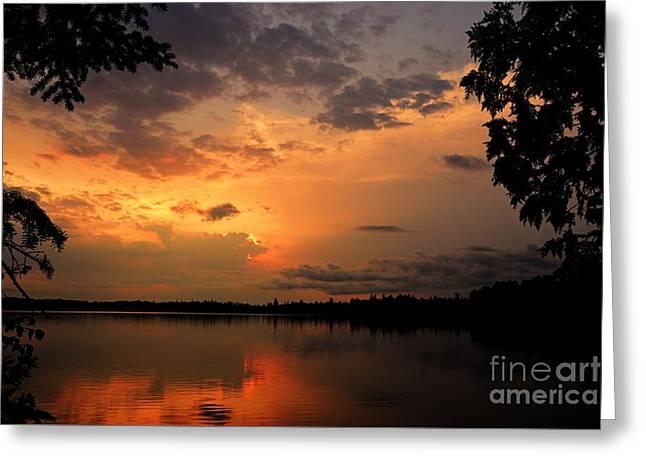 Sunset On Thomas Lake Greeting Card by Larry Ricker