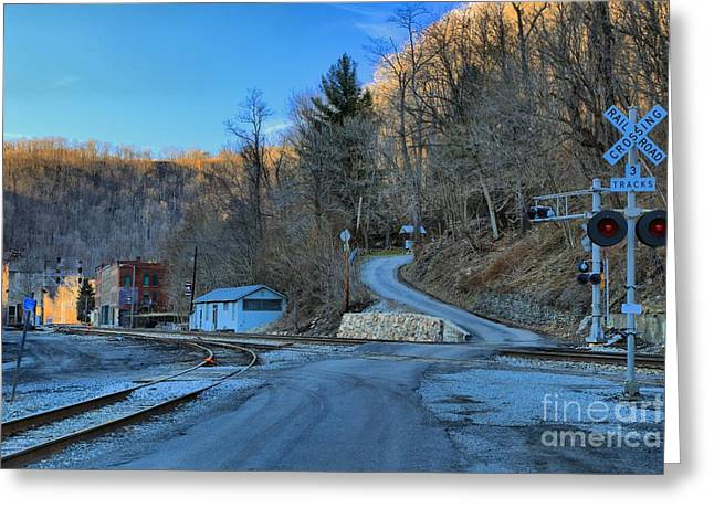 Sunset On Thurmond West Virginia Greeting Card by Adam Jewell