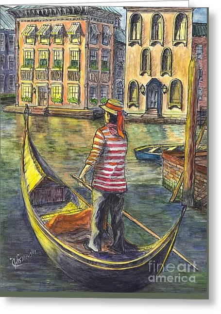 Sunset On Venice - The Gondolier Greeting Card by Carol Wisniewski