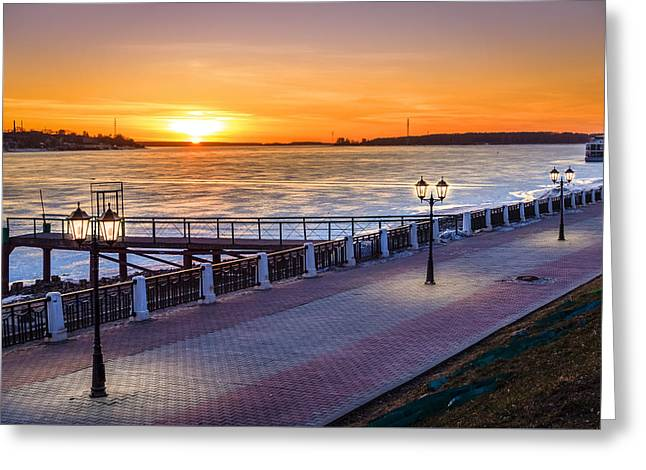 Sunset On Volga River Greeting Card by Alexey Stiop