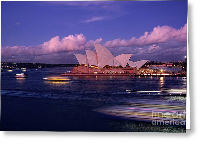 Buildings In The Harbor Greeting Cards - Sunset Opera by Kaye Menner Greeting Card by Kaye Menner