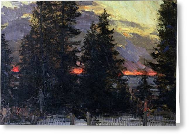 Sunset over a Winter Landscape Greeting Card by Abram Efimovich Arkhipov