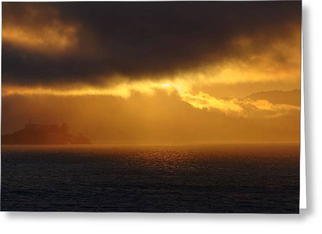 Alcatraz Greeting Cards - Sunset over Alcatraz Greeting Card by Peter Thoeny