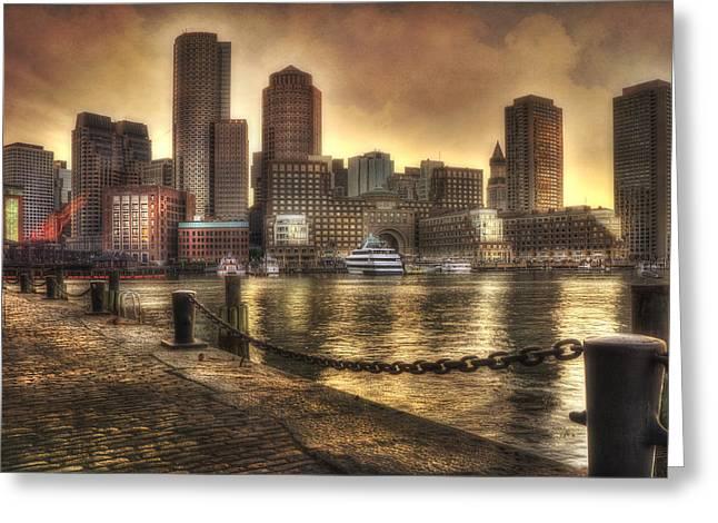 Fan Pier Greeting Cards - Sunset Over Boston Harbor Skyline Greeting Card by Joann Vitali