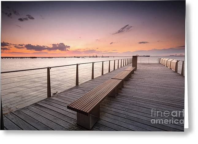 Wooden Ship Greeting Cards - Sunset over Botany Bay Sydney Australia Greeting Card by Leah-Anne Thompson