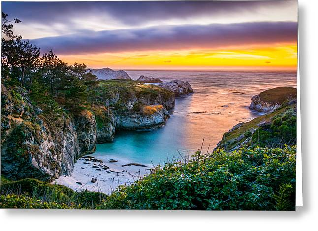 Sunset Over China Cove Greeting Card by David Gilliland