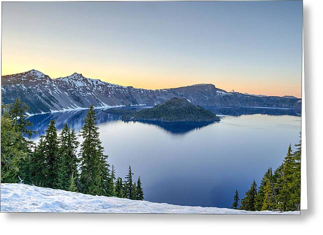Crater Lake Twilight Greeting Cards - Sunset over Crater Lake Greeting Card by Felix Lipov