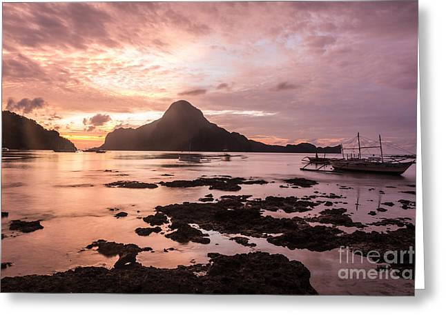 El-nido Greeting Cards - Sunset over El Nido bay in Palawan in the Philippines Greeting Card by Didier Marti