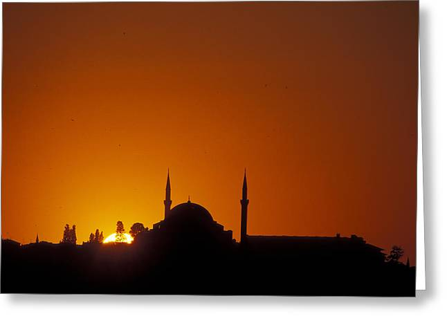 Golden Horn Greeting Cards - Sunset Over Eyud Sultan Mosque Greeting Card by Richard Nowitz