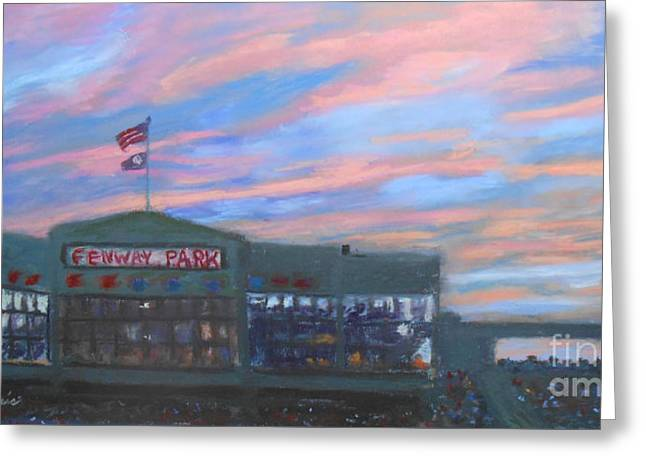 Baseball Pastels Greeting Cards - Sunset over Fenway Greeting Card by Claire Norris
