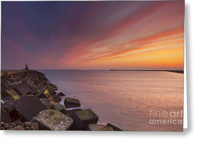 Ijmuiden Lighthouse Greeting Cards - Sunset over harbour entrance at sea in The Netherlands Greeting Card by Sara Winter
