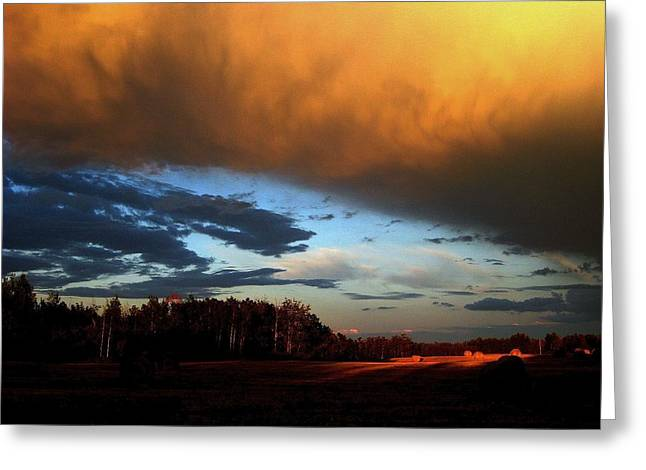 Dark Blue Greeting Cards - Sunset Over Hayfield Greeting Card by Shirley Sirois
