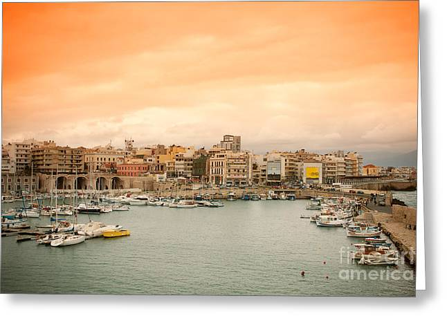 Water Vessels Greeting Cards - Sunset over Heraklion Greeting Card by Gabriela Insuratelu