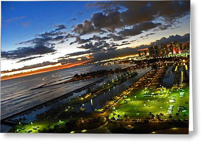 Beach At Night Greeting Cards - Sunset Over Honolulu Greeting Card by Elizabeth Hoskinson