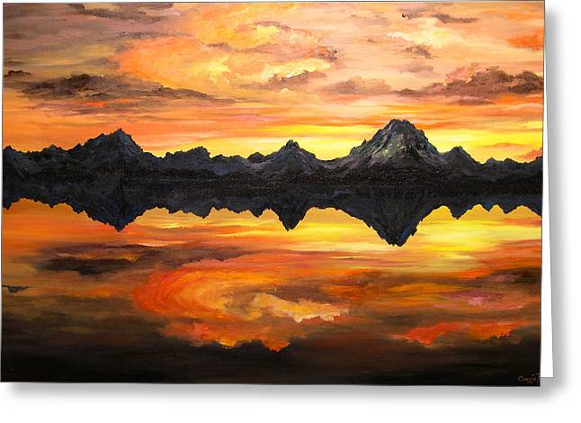 Sunset Over Jackson Lake And The Grand Tetons Greeting Card by Connie Tom