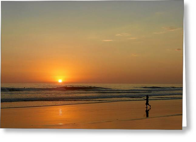 Haze Photographs Greeting Cards - Sunset over La Jolla Shores Greeting Card by Christine Till