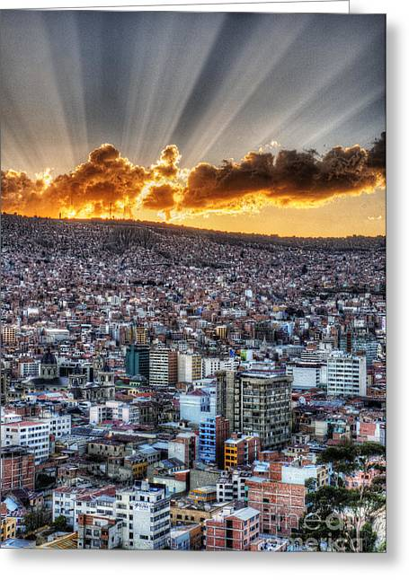 La Paz Greeting Cards - Sunset over La Paz Bolivia Greeting Card by Colin Woods