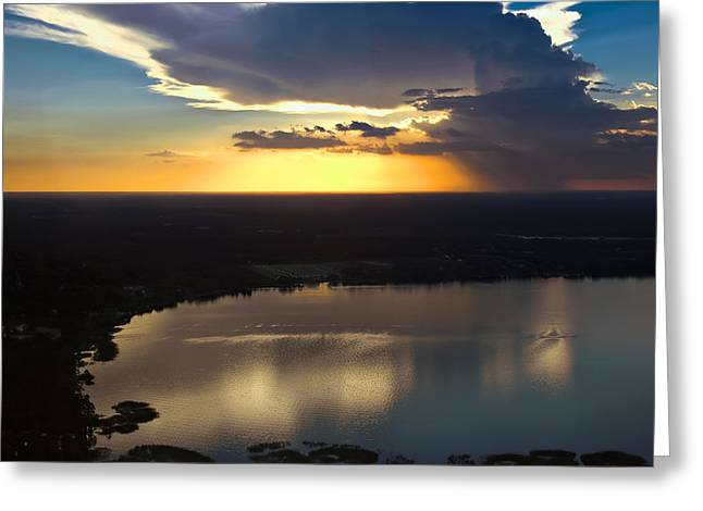 Sunset Over Lake Greeting Card by Carolyn Marshall