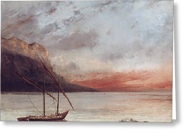 Masts Greeting Cards - Sunset over Lake Leman Greeting Card by Gustave Courbet