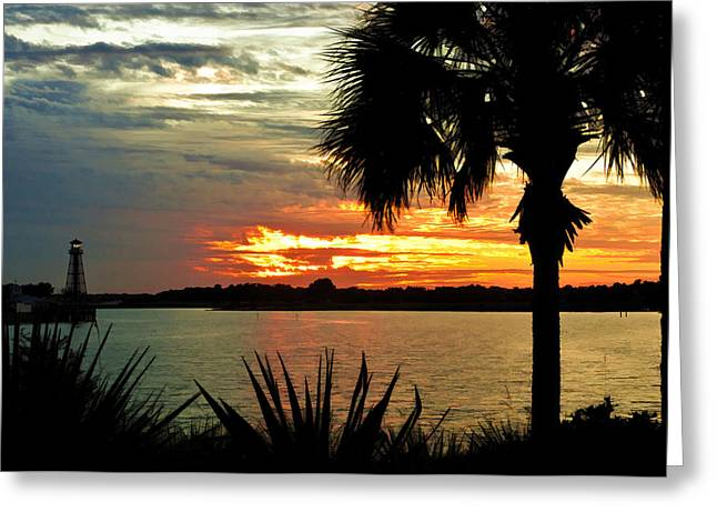 Sunset Over Lake Sumter Landing Greeting Card by Betty Eich