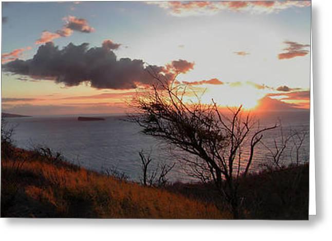 ; Maui Greeting Cards - Sunset over Lanai 2 Greeting Card by Dustin K Ryan