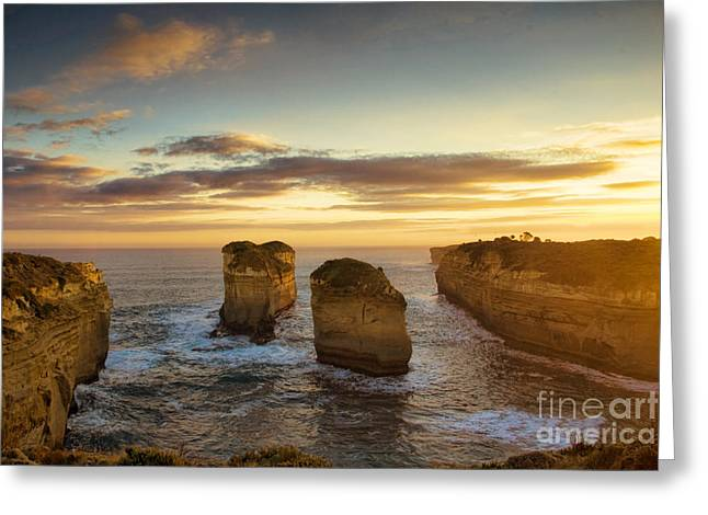 Geelong Greeting Cards - Sunset over Loch Ard Gorge with Topaz effect Greeting Card by Josephine Caruana