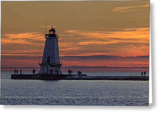 Sunset Over Ludington Panoramic Greeting Card by Adam Romanowicz